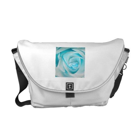Turquoise Ice Rose Messenger Bag