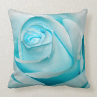 Turquoise Ice Rose Pillows