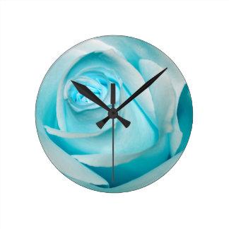 Turquoise Ice Rose Round Clock