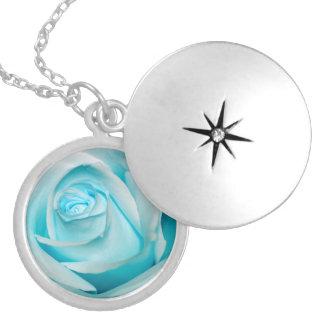 Turquoise Ice Rose Round Locket Necklace