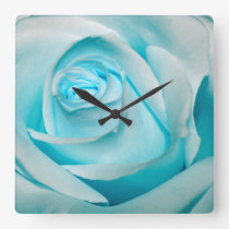Turquoise Ice Rose Square Wall Clocks