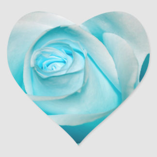 Turquoise Ice Rose Heart Sticker