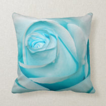 Turquoise Ice Rose Throw Pillow