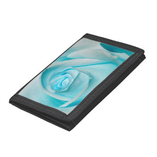 Turquoise Ice Rose Tri-fold Wallets