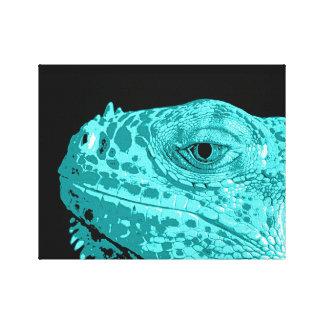 Turquoise Iguana Head on Black Canvas Print