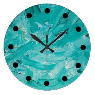 Turquoise Impasto Clock