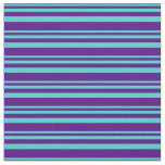 [ Thumbnail: Turquoise & Indigo Colored Lined Pattern Fabric ]