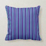 [ Thumbnail: Turquoise & Indigo Colored Lined Pattern Pillow ]