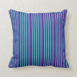 [ Thumbnail: Turquoise & Indigo Colored Lines Pattern Pillow ]