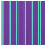 [ Thumbnail: Turquoise & Indigo Colored Striped Pattern Fabric ]