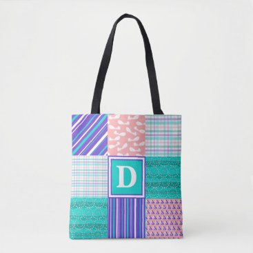 Beach Themed Turquoise, Indigo, & Coral Patchwork Monogram Tote