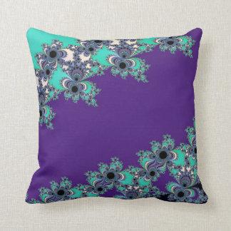 Turquoise Indigo Fractal Celtic Figure 8 Knot Throw Pillow
