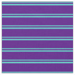 [ Thumbnail: Turquoise & Indigo Lines/Stripes Pattern Fabric ]