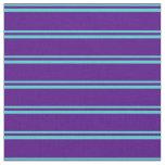 [ Thumbnail: Turquoise & Indigo Lines/Stripes Pattern Fabric ]