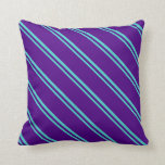 [ Thumbnail: Turquoise & Indigo Lines/Stripes Pattern Pillow ]