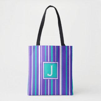 Turquoise & Indigo Stripe Monogram Tote Bag