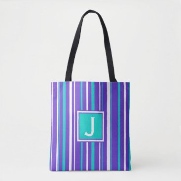 Beach Themed Turquoise & Indigo Stripe Monogram Tote Bag