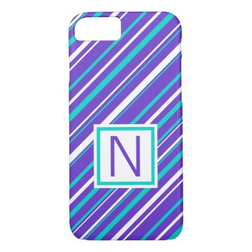 Beach Themed Turquoise & Indigo Stripe Phone Case
