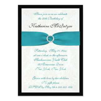Turquoise, Ivory, Black Damask 50th Birthday Card