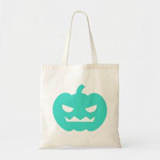 Turquoise Jack O'Lantern Cartoon Tote Bag
