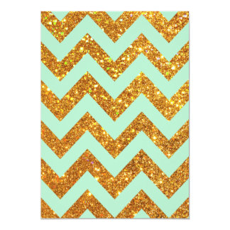 Turquoise Jade Girly Gold Glitter Chevron Pattern 5x7 Paper Invitation Card