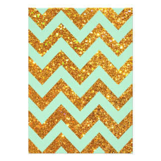 Turquoise Jade Girly Gold Glitter Chevron Pattern Personalized Invites