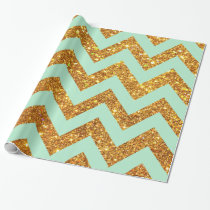 Turquoise Jade Girly Gold Glitter Chevron Pattern Wrapping Paper