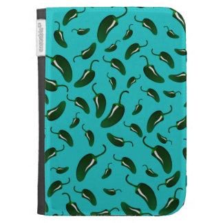 Turquoise jalapeno peppers pattern cases for kindle