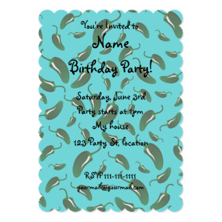 Turquoise jalapeno peppers pattern 5x7 paper invitation card