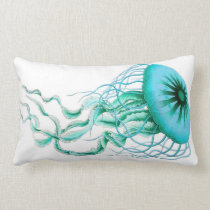Turquoise Jellyfish Nautical/Beach Lumbar Pillow