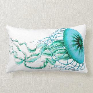 Turquoise Jellyfish Nautical/Beach Lumbar Pillow