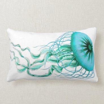 TheSilkRoadMarket Turquoise Jellyfish Nautical/Beach Lumbar Pillow