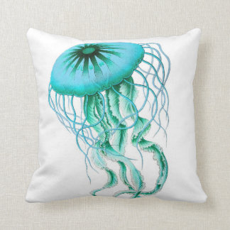 Turquoise Jellyfish Nautical/Beach Throw Pillow
