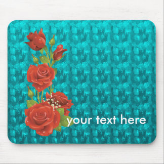 Turquoise jewelry Pattern and Roses Mousepad
