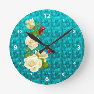 Turquoise jewelry White Roses Pattern Gifts Round Clock