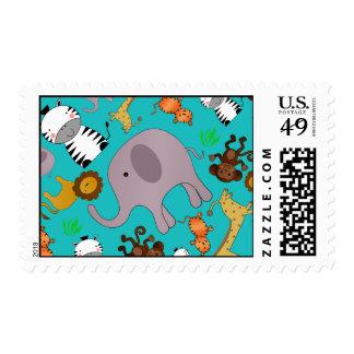 Turquoise jungle safari animals postage stamp
