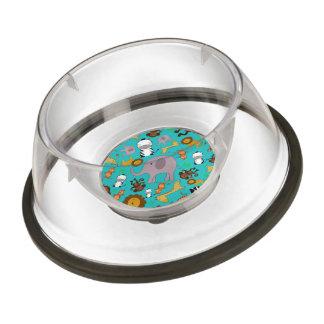 Turquoise jungle safari animals pet bowl
