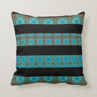 Turquoise kaleidoscope And Black Striped Pillow