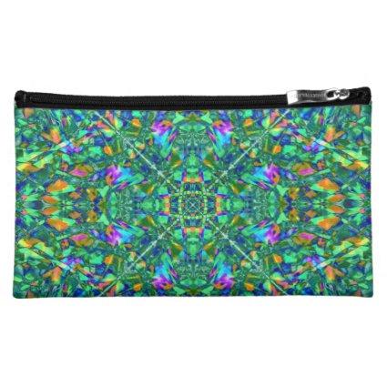 Turquoise Kaleidoscope Fractal Art Cosmetic Bags