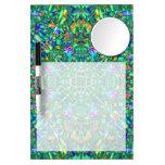 Turquoise Kaleidoscope Fractal Art Dry Erase Boards