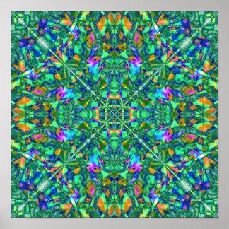 Turquoise Kaleidoscope Fractal Art Posters