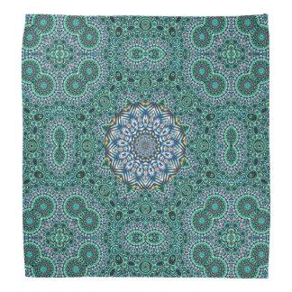 Turquoise Kaleidoscopic Mosaic Reflections Design Bandana