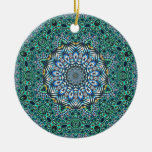 Turquoise Kaleidoscopic Mosaic Reflections Design Ceramic Ornament