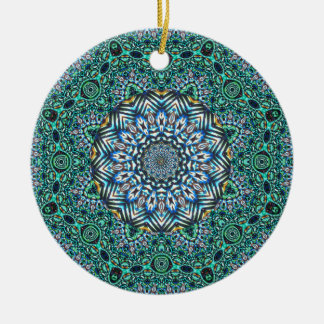 Turquoise Kaleidoscopic Mosaic Reflections Design Ceramic Ornament