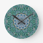 Turquoise Kaleidoscopic Mosaic Reflections Design Wall Clock