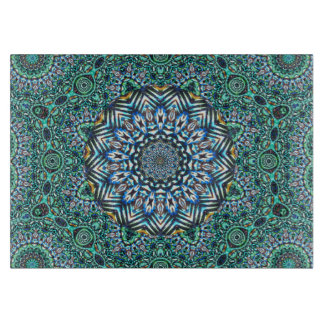 Turquoise Kaleidoscopic Mosaic Reflections Design Cutting Boards