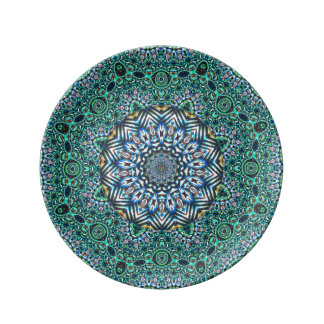 Turquoise Kaleidoscopic Mosaic Reflections Design Dinner Plate