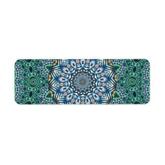 Turquoise Kaleidoscopic Mosaic Reflections Design Label