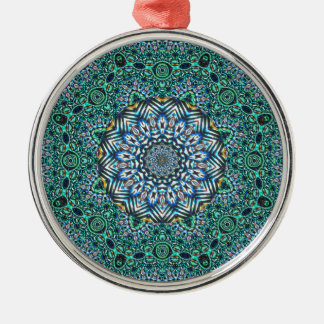 Turquoise Kaleidoscopic Mosaic Reflections Design Metal Ornament