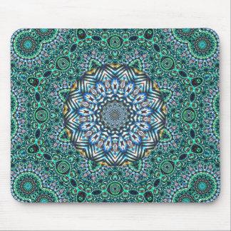 Turquoise Kaleidoscopic Mosaic Reflections Design Mouse Pad